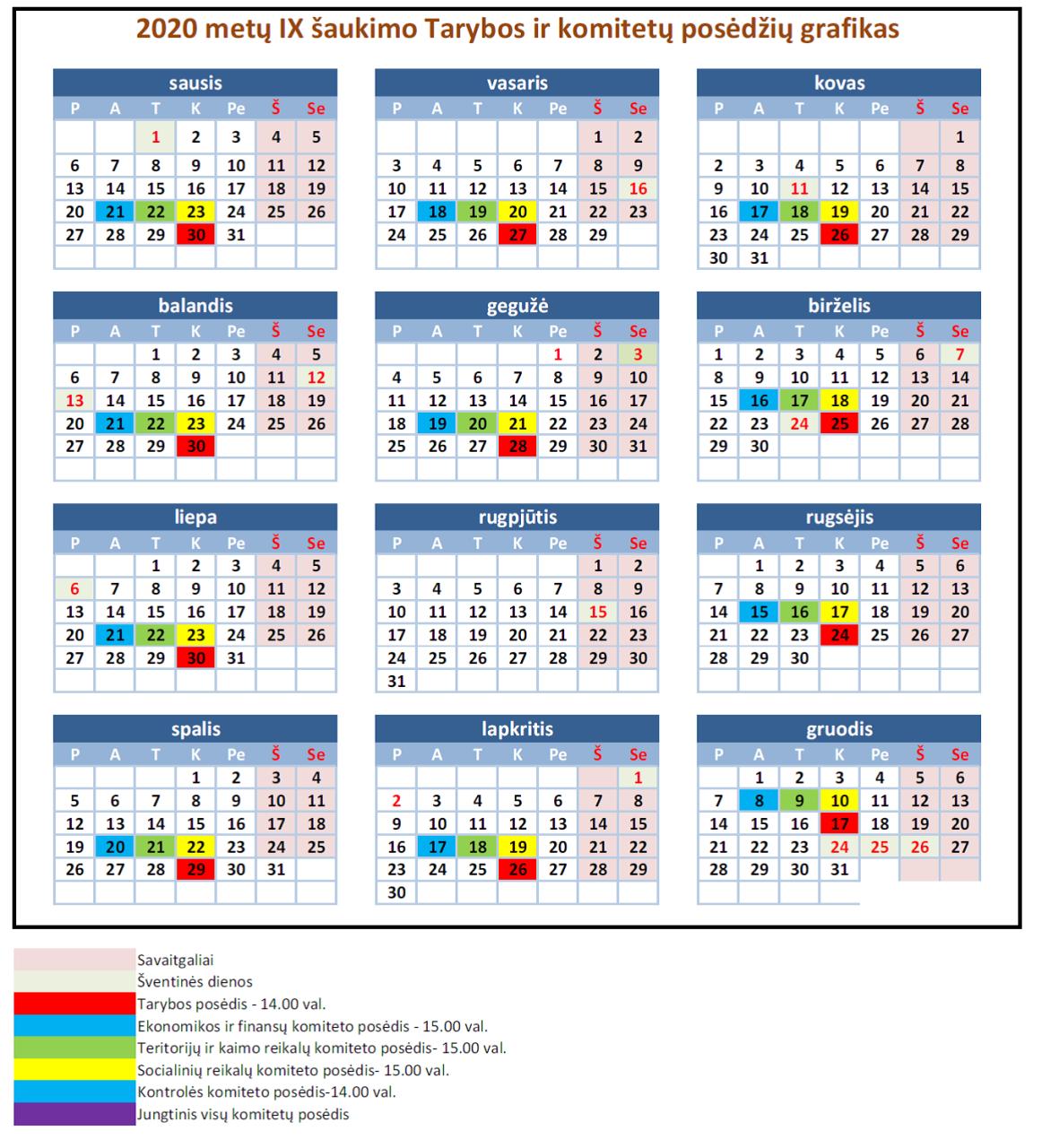 pasirinkimo kalendorius 2020 m