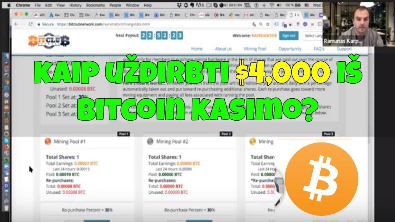 kaip gauti 1 bitkoiną